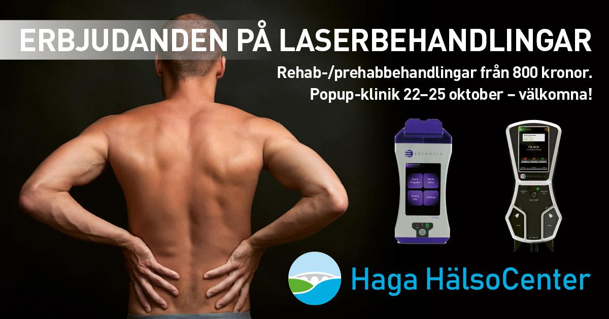 Erbjudanden laserbehandlingar 22-25 oktober på Haga Hälsocenter.